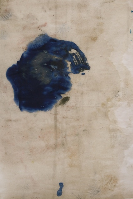 "Hildy Maze - East Hampton, NY - International Art Submission Title: blue tear  Medium: oil on paper  Size: 17"" x 21"""