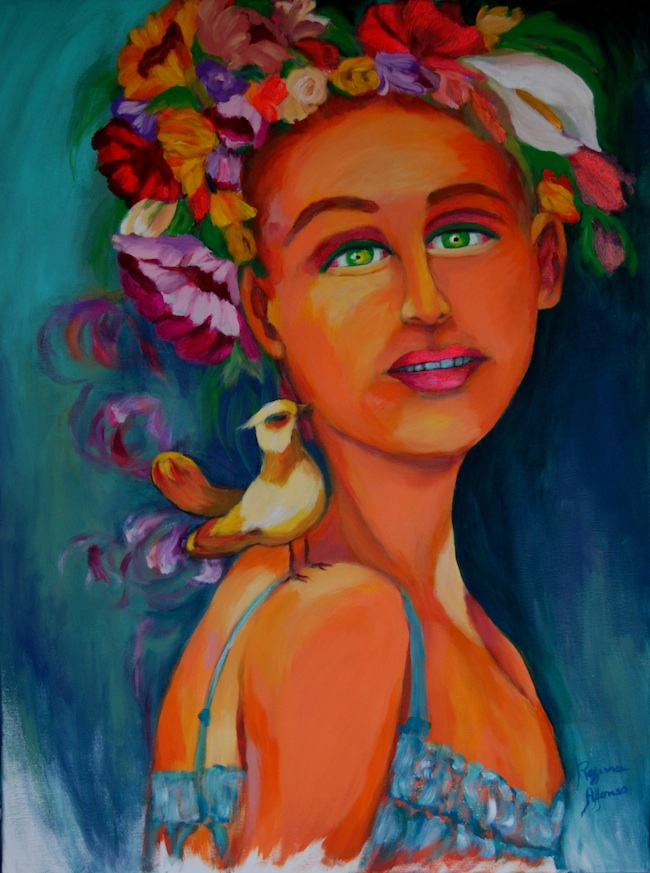 Regina Alfonso - O.Azemeis, Portugal Title: Ode to spring  Medium: acryl.on canvas  Size: 60X80cm