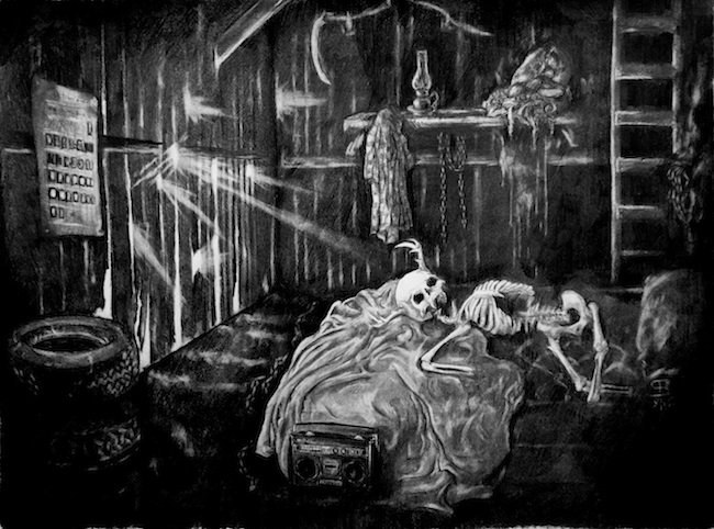 Title: The Nightmare Room  Medium: Graphite  Size: 18x24