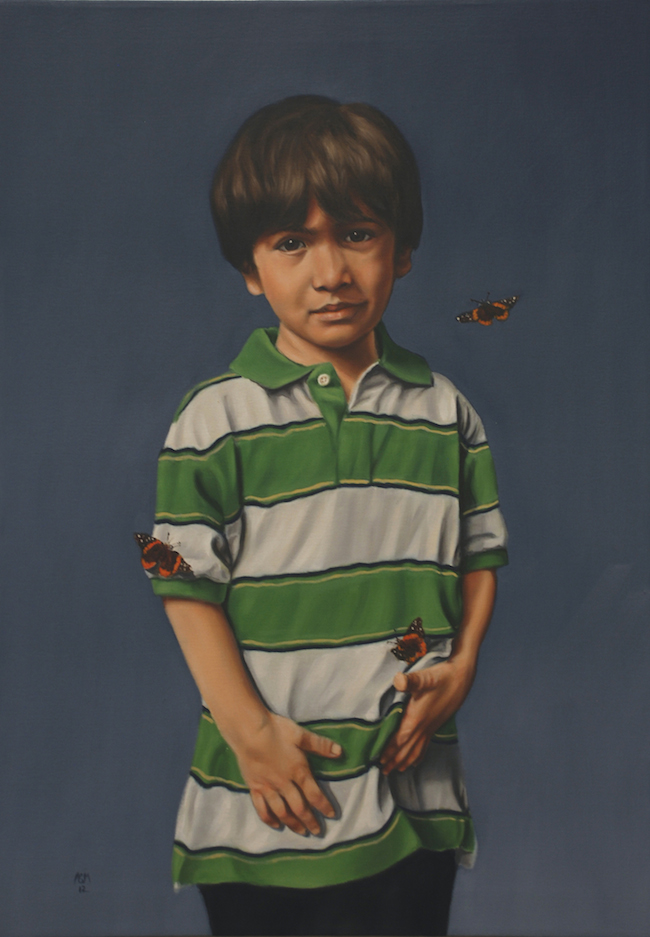Title:Boy with Butterflies Medium:	Oil on Canvas Size:	24 x 34