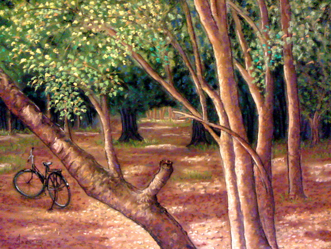 Title:PARK AND WALK Medium:	Pastel Size:	19x25