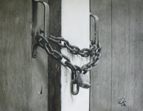 Title:	Chain Lock Medium:	Charcoal Size:	16.5 x 21 inches