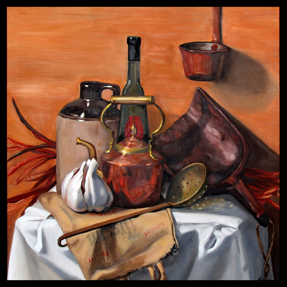 "Title:Still life with kettle Medium:	Oil on Canvas Size:	24"" x 24"""