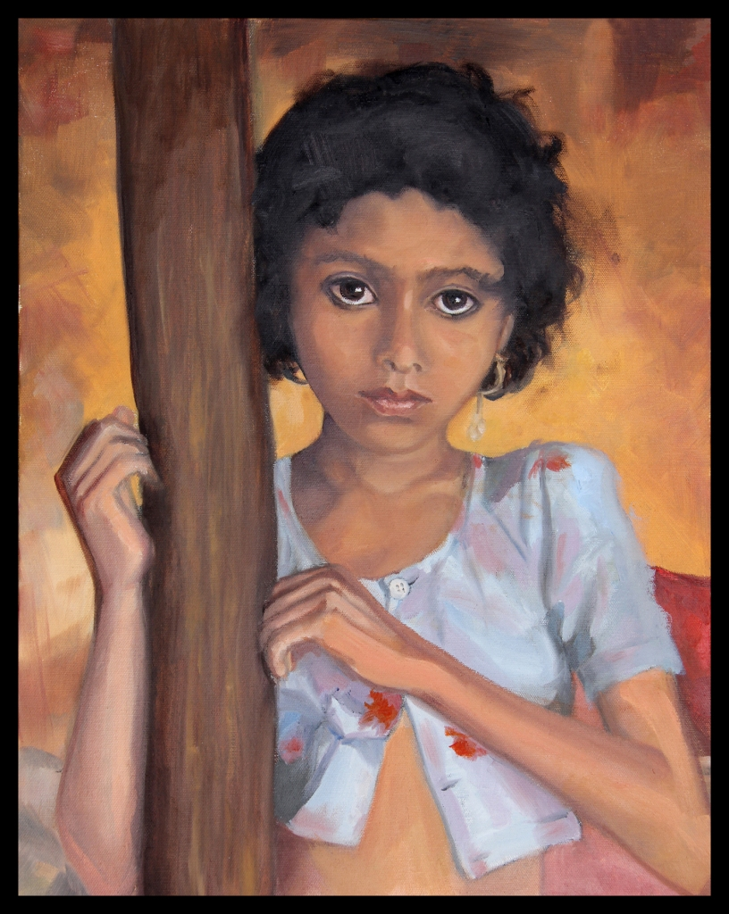 "Title:Girl in yellows Medium:	Oil on Canvas Size:	20"" x 16"""