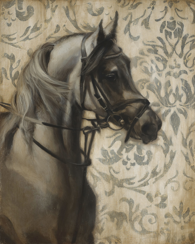 Title:King's Horse Medium:Oil and Silver Leaf on Wood Size:24 in x 30 in