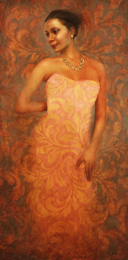 Title:Brooke Medium:Oil and Gold Leaf on Wood Size:24 in x 48 in