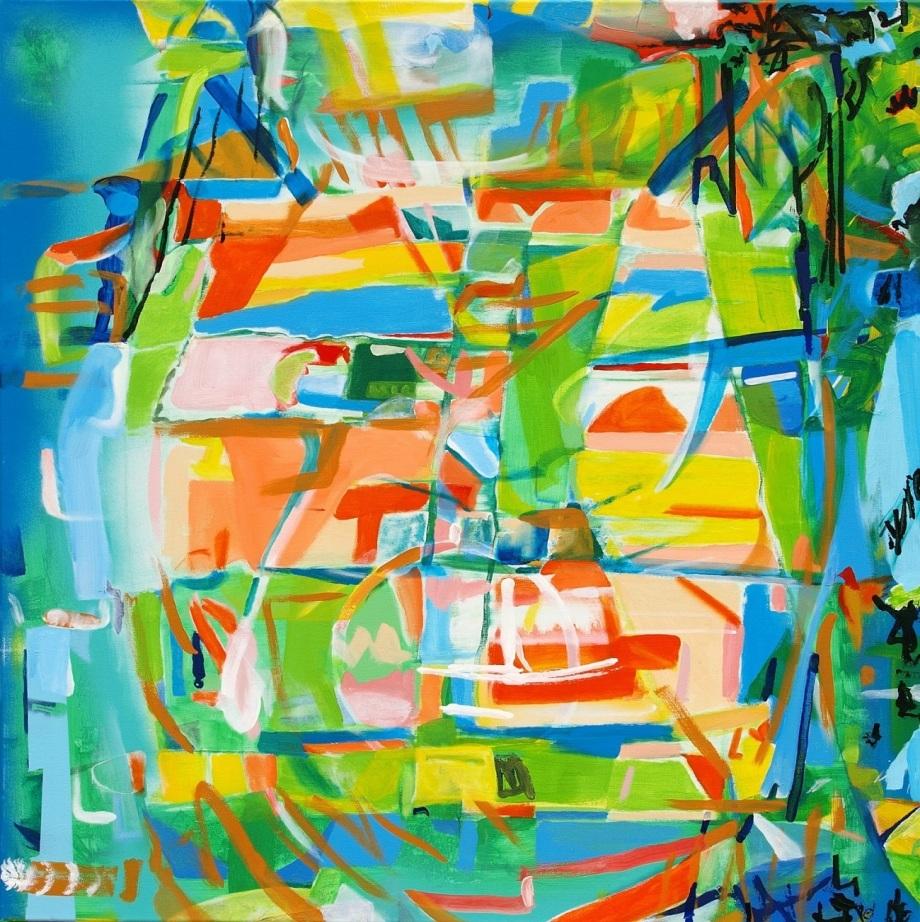 Title:The Calico Cat Medium:Acrylic on Canvas Size:100 x 100 x 2 cm