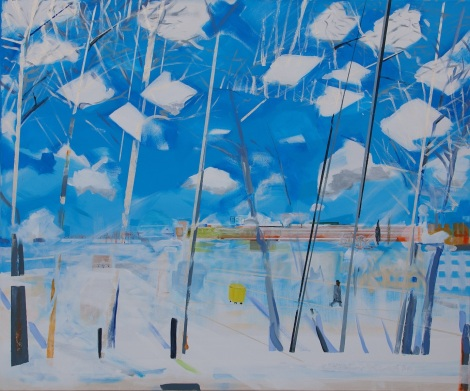 Title:	Icy Airportfield / Berlin-Tempelhof Medium:	Acrylic on Canvas Size:	100 x 120 x 2 cm