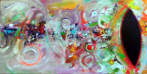 "Title:	Through the Seventh Portal Medium:	acrylic Size:	20"" x 40"""