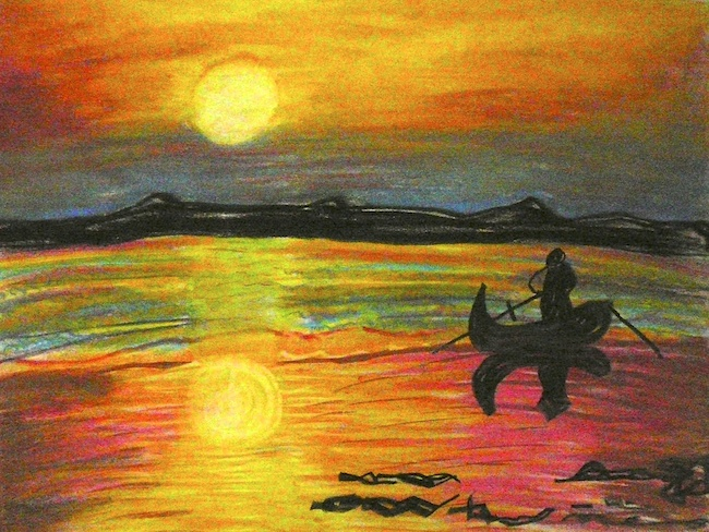 "Title:""On a Shore"" Medium:	pastel Size:	18 x 24"