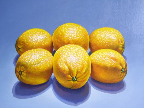 "Title:	Six Lemons Medium:	acrylic Size:	18"" x 24"""