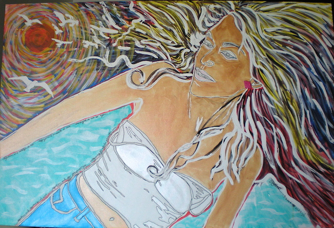 """Title:Negation and Yearning of XOH Medium: Acrylics with archival ink and frisket Size:40""""x60"""""""