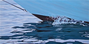Title Running For Open Water Medium Acrylic on Canvas Size 25″ h x 50″ w