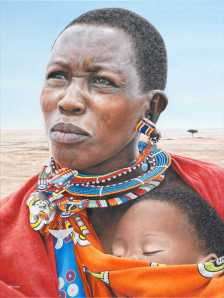 Title:Massai Mother and Child Medium:	Oil on canvas Size:	18 x 24""