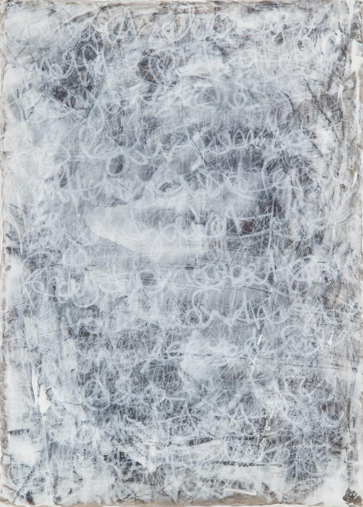 "Title:White I Medium:Woodcut, acrylic caran d""ache on canvas Size:17"" x 12"""