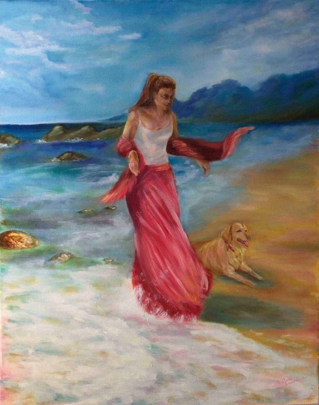 "Title:At the Beach Medium:	oil Size:	24"" by 30"""