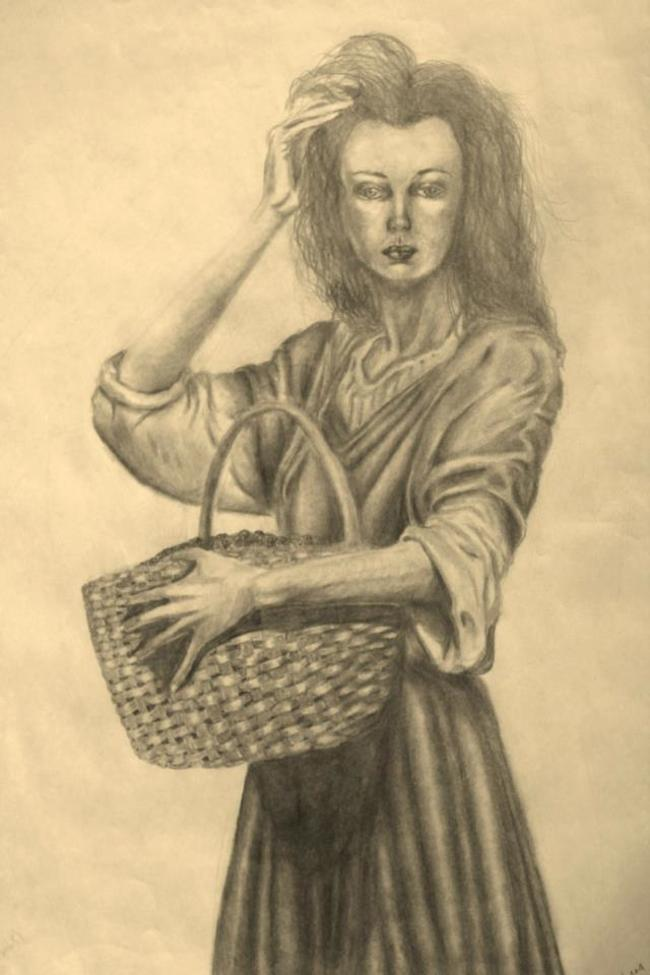 "Title:Girl with Basket Medium:	pencil Size:	18"" by 24"""