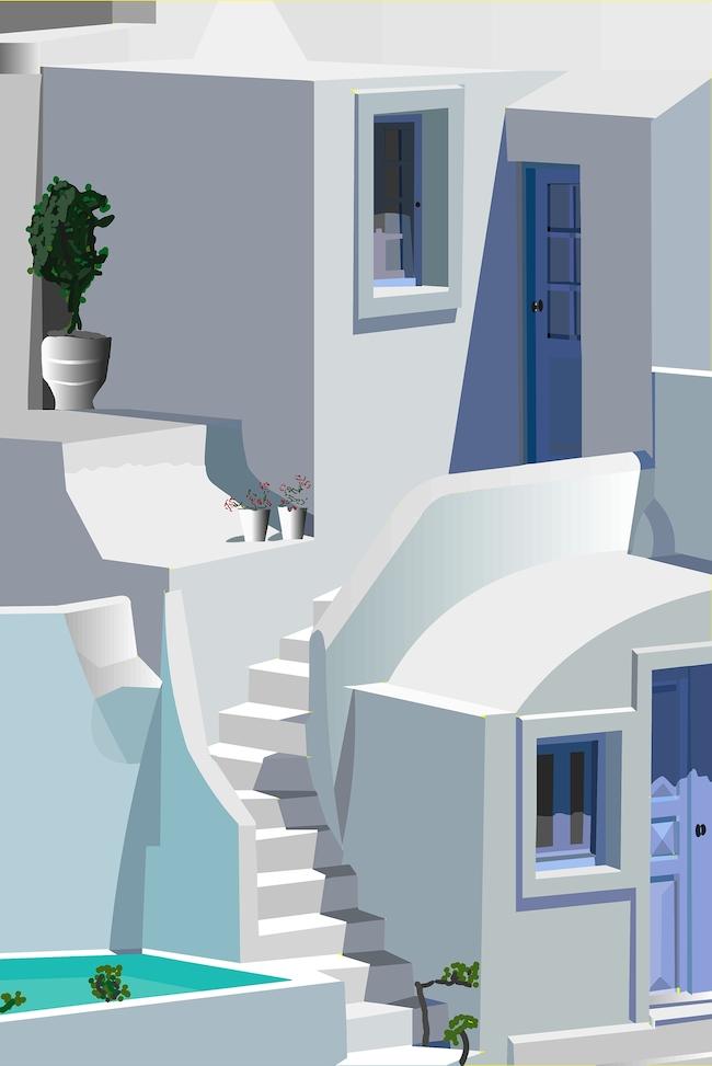 Title:Greek Isle Medium:acrylic Size:W 30 x H 40