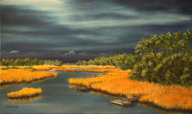 Title:Three Piers Medium:oil 0n canvas Size:18 x 30