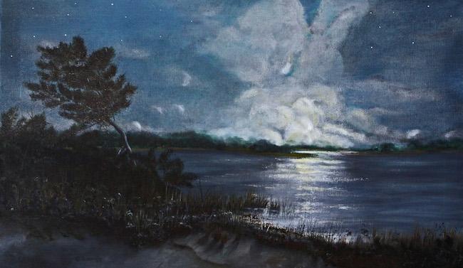 Title:Moonrise on Middle Island Medium:oil on canvas Size:18 x 30