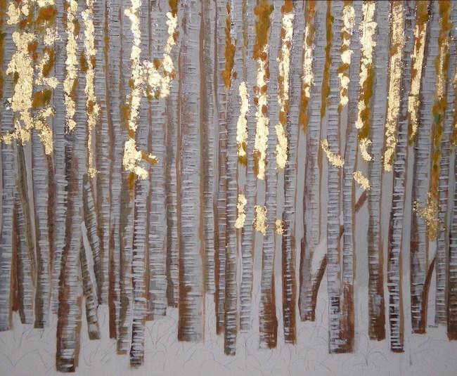 Title:Winter's Gold Medium:Gold, Acrylic Size:24x30