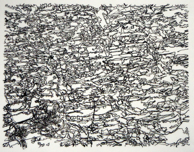 "Title:Shale Cliff in Black Medium:	Ink on Yupo Paper Size:	10.5""x8"""