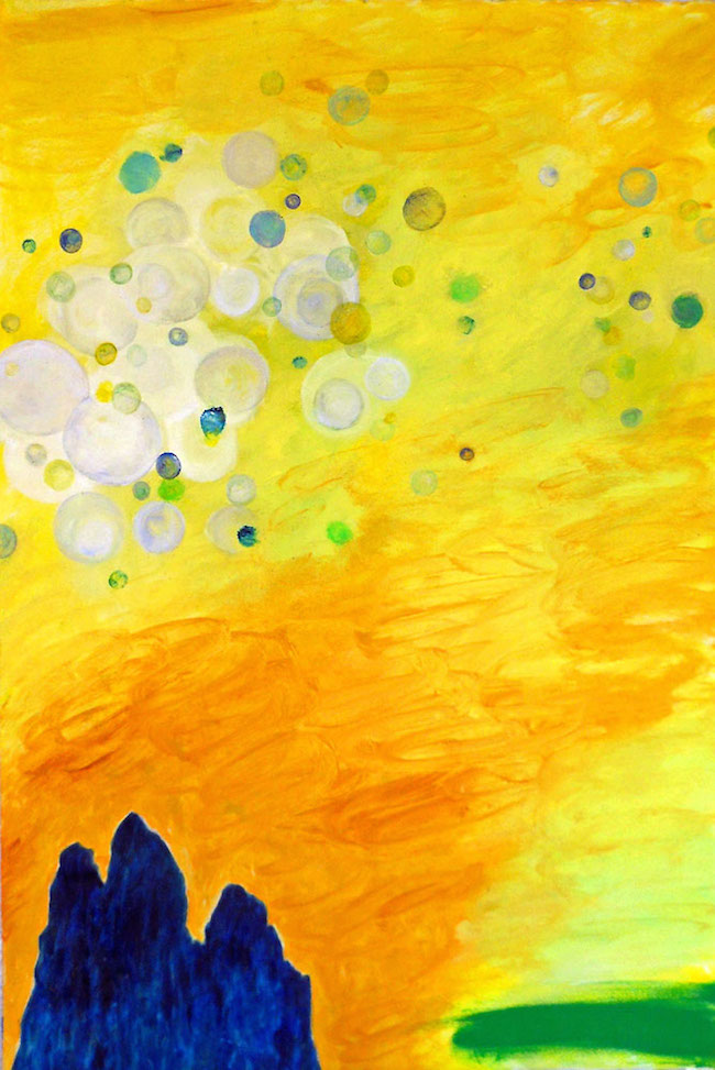 "Title:Yellow Day Medium:	mixed media on paper Size:	22"" x 15"""
