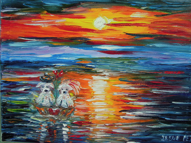 Title:Under the moon Medium:Oil on canvas with palette knife Size:16 x 20 inches