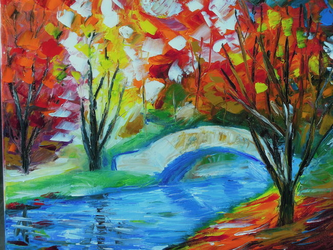 Title:Fall in the park Medium:Oil on canvas with palette knife Size:16 x 20 inches