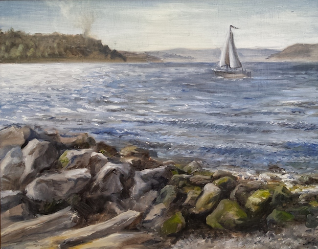 Title:Myrtle Edwards Beach With Sailboat Medium:Oil On Panel Size:16 x 20 inches