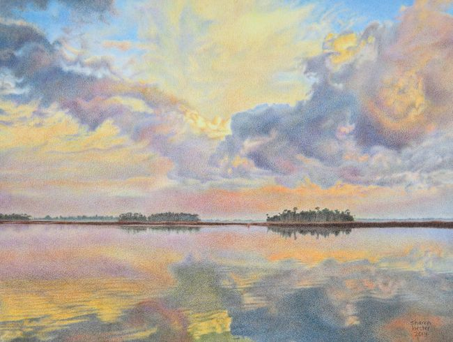 Title:Gathering Clouds at Dawn Medium:Colored pencil Size:	11 x 15 inches