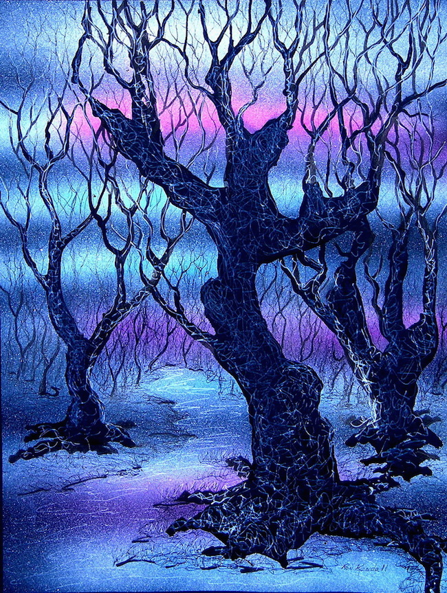 """Title:Black Trees Medium: Color pens, Airbrushed watercolors, Black paper Size:12""""w x 16""""h"""