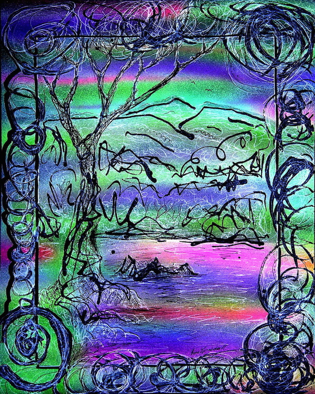 """Title:Mello Day Medium: Color pens, Airbrushed watercolors, Black paper Size:12""""w x 16""""h"""