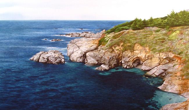 Title:Monastery Beach, Carmel Medium:Drybrushwatercolor Size:13x23