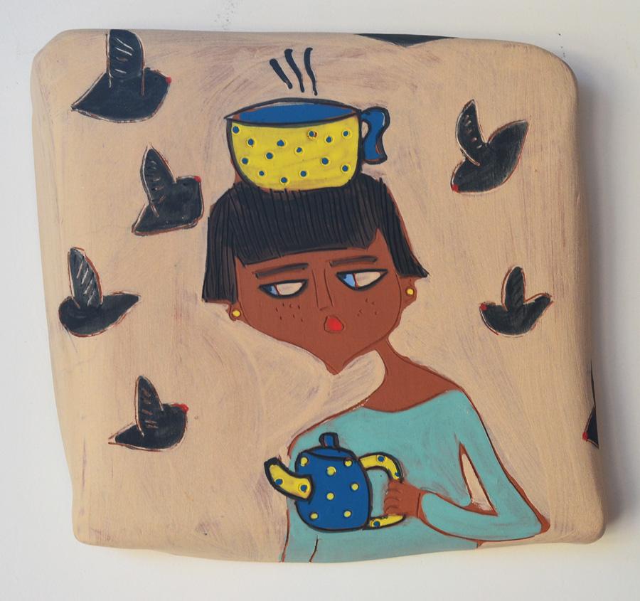 Title:morning glory Medium:ceramics,abgobe,oxides Size:18x18x3