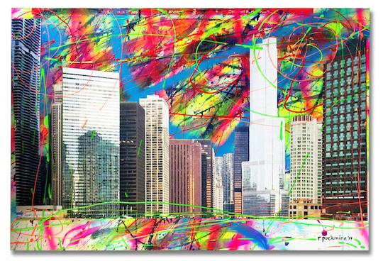 "Title:Chicago River Redux Medium:Acrylic, mixed media Size:24"" X 36"""