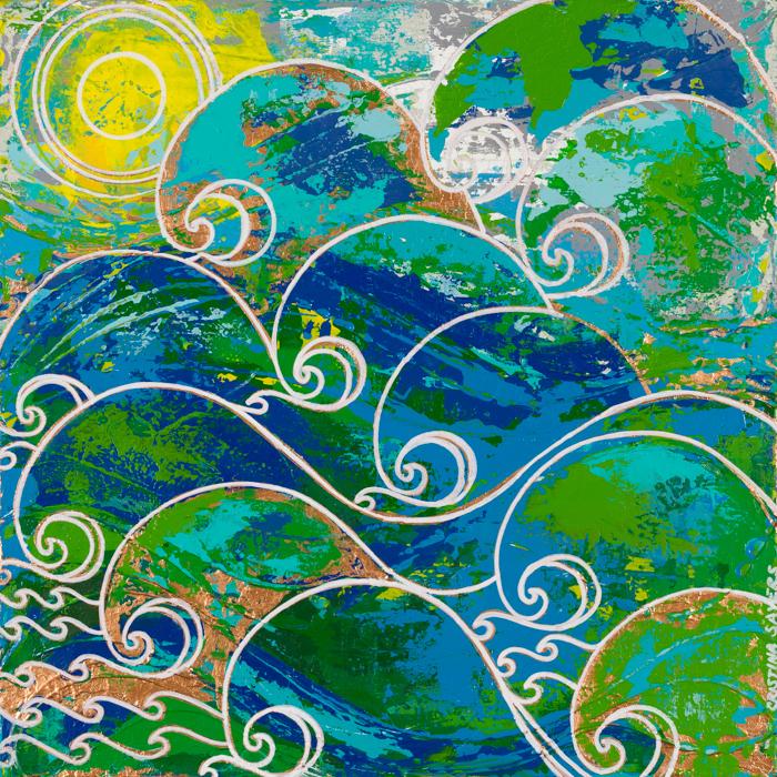 "Title:WIND & SEA Medium:Abstract/Acrylic Size:20""x20"""