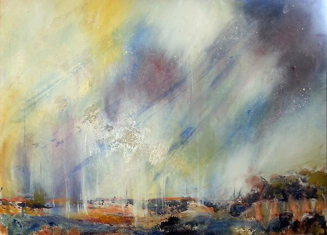 Title Sky Fall Medium acrylic, oil, beads, gel on panel Size 22 x 30