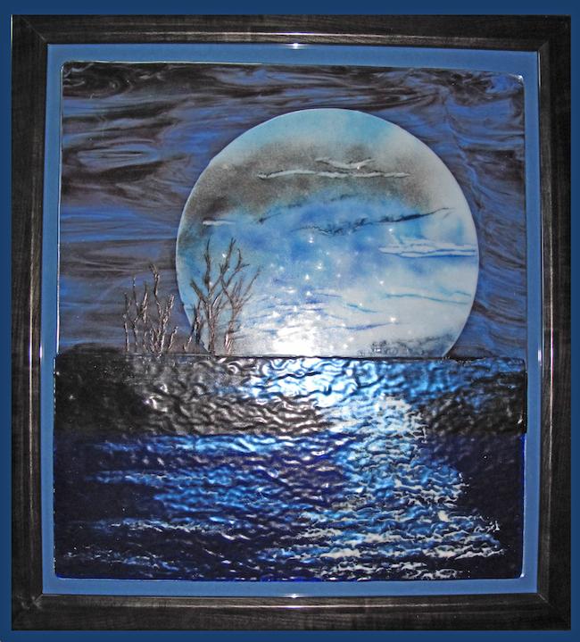 Title:Blue Moon Medium:fused glass Size:20 x 36
