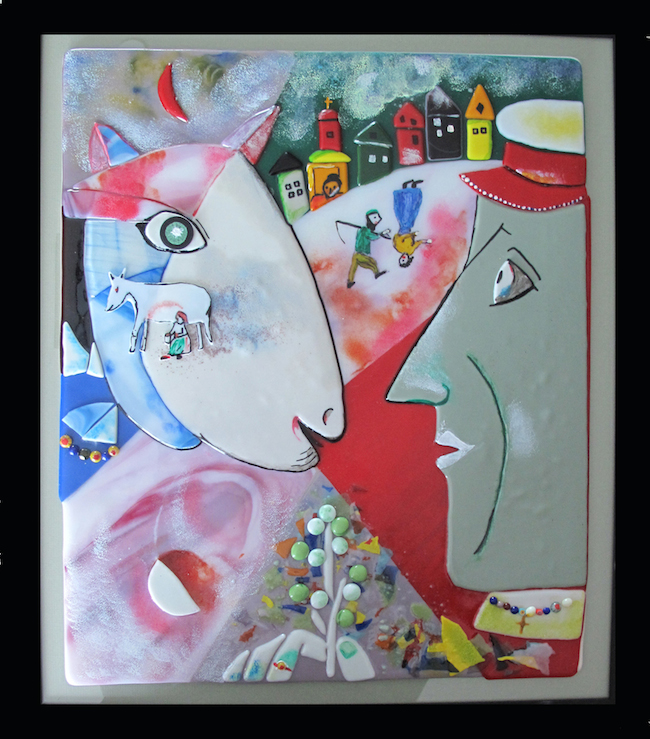 Title:Homage to the Village Medium:Fused Glass Size:24 x 36
