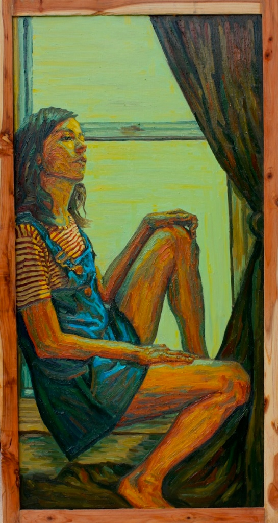"Title:daydream Medium:	oil on wood Size:	24"" x 42"""
