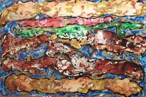 Title:	Power Double Cheeseburger Medium:	 Acrylic, photograph, brown paper bag, aluminium foil, sytrofoam, cellophanes, electrical wire, glitter Size:	24 in X 36 in X 3 in