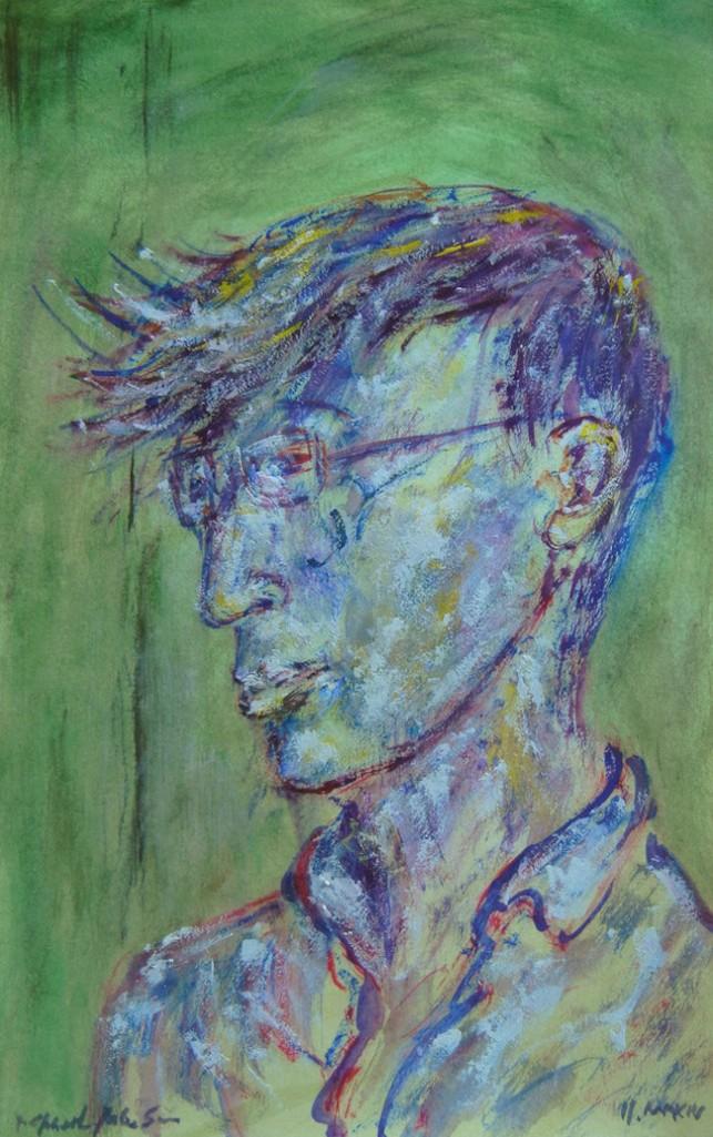"""Title:Self-Portrait 2014 Medium:Gouache on Paper Size:9""""x5.5"""""""