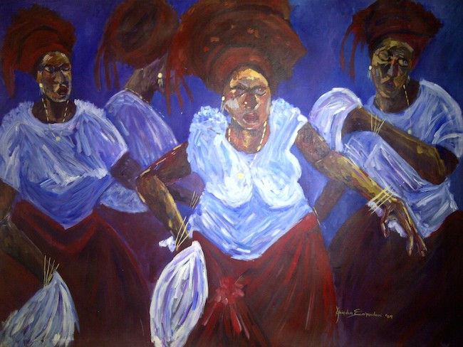 "Title:The Dancers Medium:	Acrylic Size:	48"" by 36"""