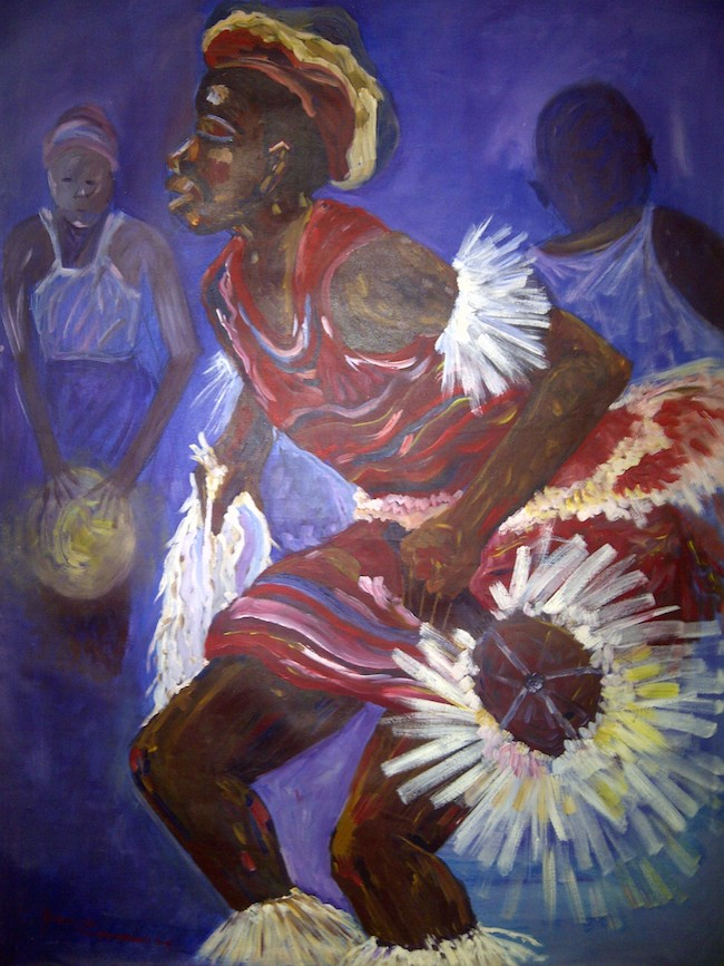 "Title:The Native Dancer Medium:	Acrylic Size:	36"" by 48"""