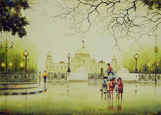 Title:An Afternoon in Calcutta Medium:Watercolor Size:28(H) x 41(W)