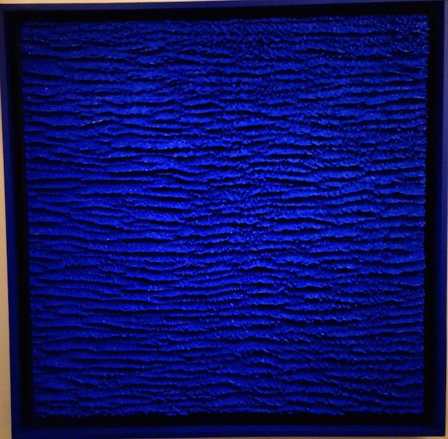 "Title:""Bleu Standing"" Medium:Encaustic on Panel Size:50x50x4"