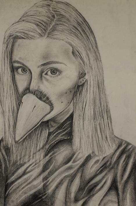 TitleMorphed Self Portrait   MediumEbony Pencil   Size12x18