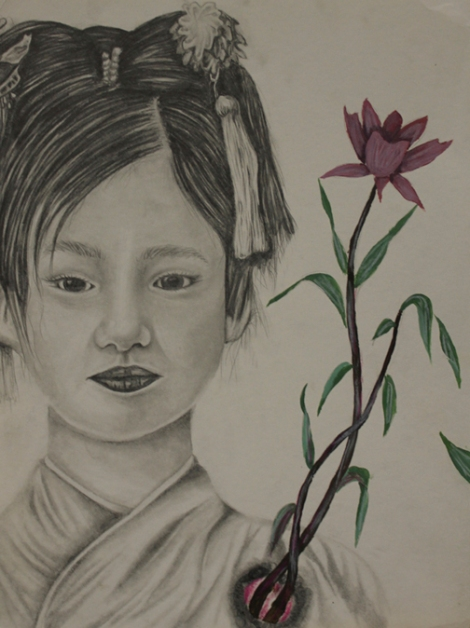 TitleJapanese Girl Portrait   Medium	Ebony Pencil   Size	9x12