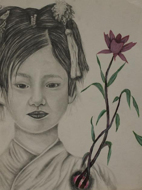 TitleJapanese Girl Portrait   MediumEbony Pencil   Size9x12